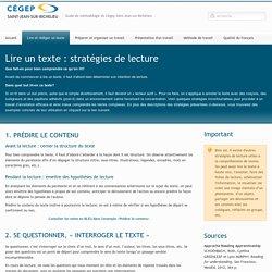 Lire un texte : Stratégies de lecture - GuideMethodologie