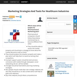 Marketing Strategies And Tools For Healthcare Industries
