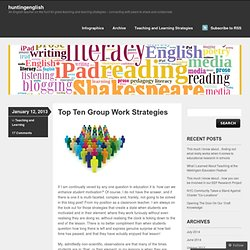 Top Ten Group Work Strategies
