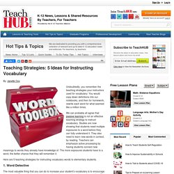 Teaching Strategies: 5 Ideas for Instructing Vocabulary