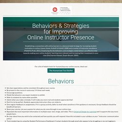 Behaviors & Strategies for Improving Your Instructor Presence