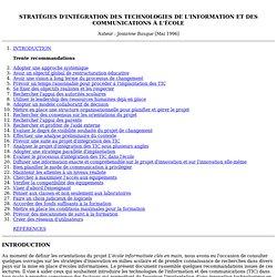 STRATÉGIES D'INTÉGRATION DES TIC