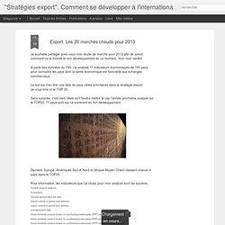 Export. Les 20 marchés chauds pour 2013