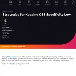 Strategies for Keeping CSS Specificity Low