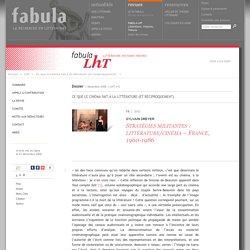 Stratégies militantes: littérature/cinéma – France, 1960-1986 (LhT Fabula)