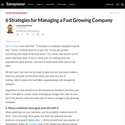 6 Strategies for Managing a Fast Growing Company