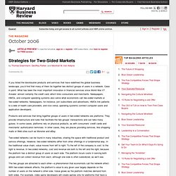 Strategies for Two-Sided Markets