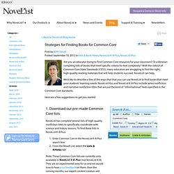 Strategies for Finding Books for Common Core | NoveList Blog | EBSCOhost
