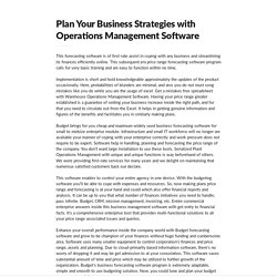 Plan Your Business Strategies with Operations Management Software