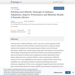 Nutrition and Altitude: Strategies to Enhance Adaptation, Improve Performance and Maintain Health: A Narrative Review