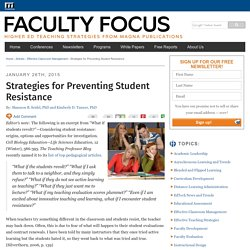 Strategies for Preventing Student Resistance