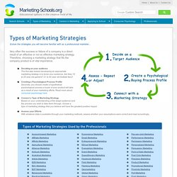 Explore the various types of marketing strategies used by professionals