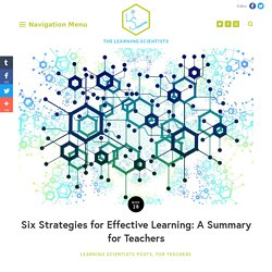Six Strategies for Effective Learning: A Summary for Teachers — The Learning Scientists