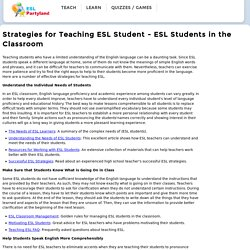 Strategies for Teaching ELL Student in the classroom