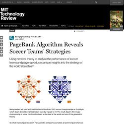 PageRank Algorithm Reveals Soccer Teams' Strategies