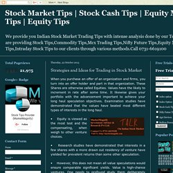 Strategies and Ideas for Trading in Stock Market