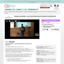 Franck Amadieu - Les stratégies des étudiants en réussite - Université Paris 1 Panthéon-Sorbonne