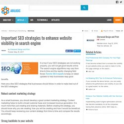 Important SEO strategies to enhance website visibility in search engine