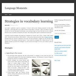 Strategies in vocabulary learning