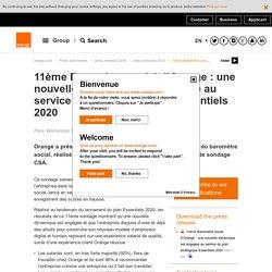 11ème Baromètre social d'Orange : une nouvelle dynamique est engagée au service du plan stratégique Essentiels 2020