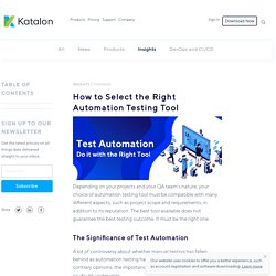 Strategy to Select the Automation Testing Tool