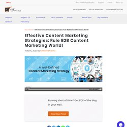 Tips and Strategy to rule B2B content marketing world