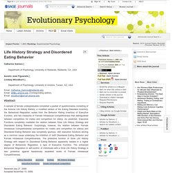 Life History Strategy and Disordered Eating Behavior