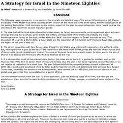 A Strategy for Israel in the Nineteen Eighties, by Oded Yinon, translated by Israel Shahak
