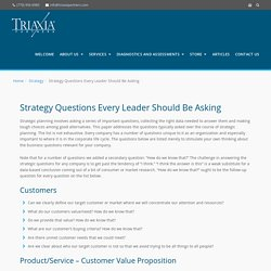 Strategy Questions Every Leader Should Be Asking - Triaxia Partners