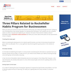 strategyadvisors - Three Pillars Related to Rockefeller Habits Program for Businessmen