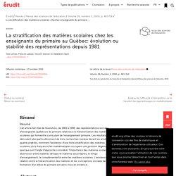 La stratification des matières scolaires chez les… – Revue des sciences de l'éducation