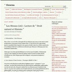 """Leo Strauss (06) : Lecture de """" Droit naturel et Histoire """""""