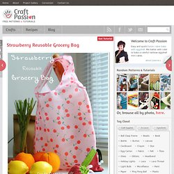 Sewing | Strawberry Reusable Grocery Bag | Free Pattern & Tutorial at CraftPassion.com - Part 2