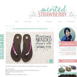 Macrame-Braided Slippers with Rhinestones