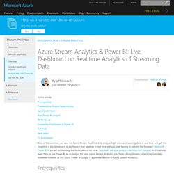 Stream Analytics Power BI Dashboard