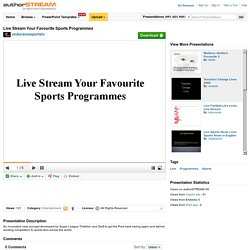 Live Stream Your Favourite Sports Programmes