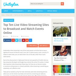 Top Ten Live Video Streaming Sites to Broadcast and Watch Events Online