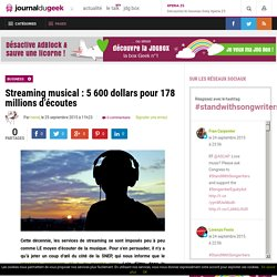 Streaming musical : 5 600 dollars pour 178 millions d'écoutes