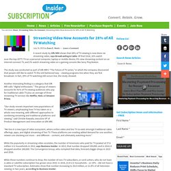 Streaming Video Now Accounts for 28% of All TV Watching – Subscription News from Subscription Insider