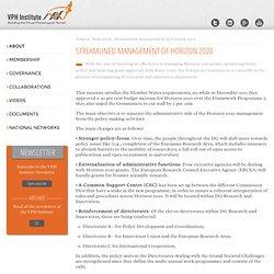 Streamlined management of Horizon 2020