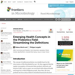 FRONT. MICROBIOL. 21/05/19 Emerging Health Concepts in the Probiotics Field: Streamlining the Definitions