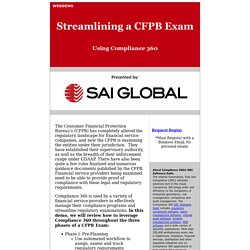 Streamlining CFPB Exams Using Compliance 360