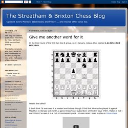 The Streatham & Brixton Chess Blog: Give me another word for it