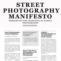 STREET PHOTOGRAPHY MANIFESTO
