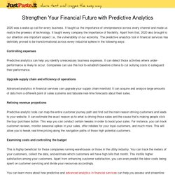 Strengthen Your Financial Future with Predictive Analytics
