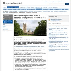Strengthening of Lords 'leave of absence' arrangements recommended