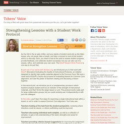 Strengthening Lessons With A Student Work Protocol