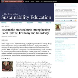 Beyond the Monoculture: Strengthening Local Culture, Economy and Knowledge « Journal of Sustainability Education