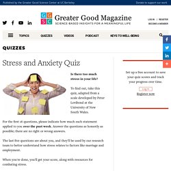 Stress and Anxiety Quiz