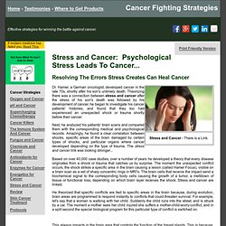 Stress and Cancer - Reduce Stress To Conquer Cancer